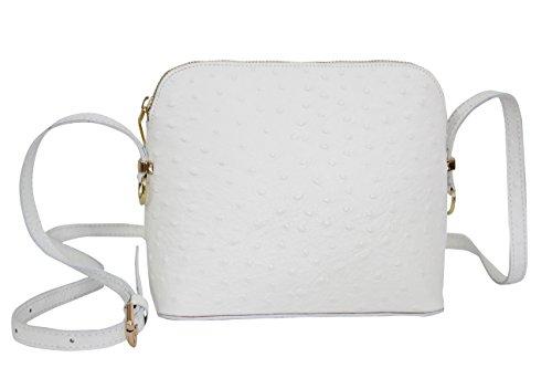 AMBRA Moda Damen Handtasche Umhängetasche Leder Tasche klein SL702 (Weiß)