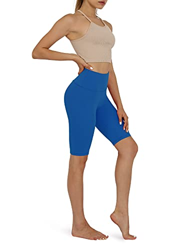 ODODOS Women's Yoga Short Tummy Control Workout Running Athletic Non See-Through Yoga Shorts with Hidden Pocket, Royal Blue, Small