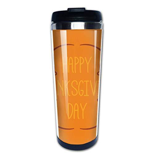 Taza de café de viaje Feliz Día de Acción de Gracias Taza de café con aislamiento de acero inoxidable Botella de agua deportiva 13.5 Oz (400 ml) MUG-5877