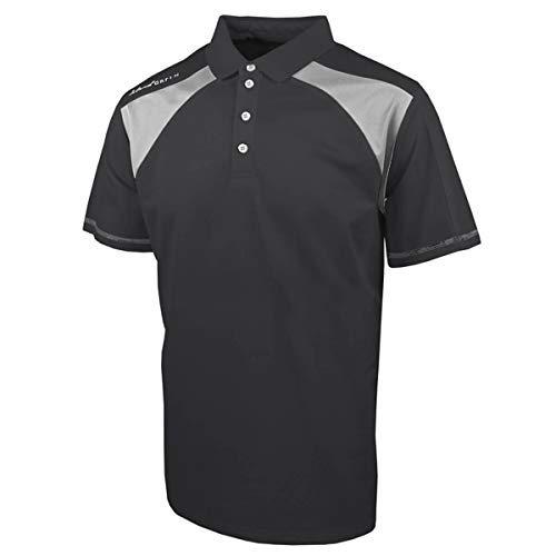 Island Green Golf Mens Contrast Panel Moisture Wicking Flexible Polo Shirt Camisa, Hombre