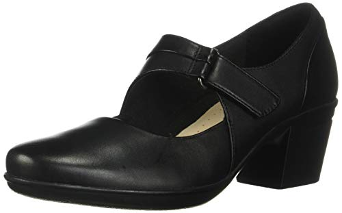 CLARKS Emslie Lulin Womens Mary Jane Pumps Black Leather 10 W
