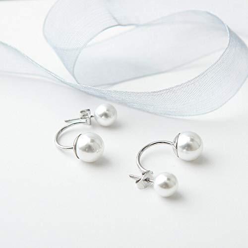 GSZP XF - Pendientes chapados en plata de doble cara para mujer, diseño de bola de cristal