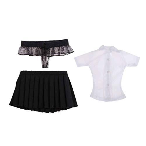 IPOTCH 1:6 Kurzarmhemd Damenrock Tanga Sommer Kleidung Bekleidung für 12 Zoll Weibliche Actionfiguren