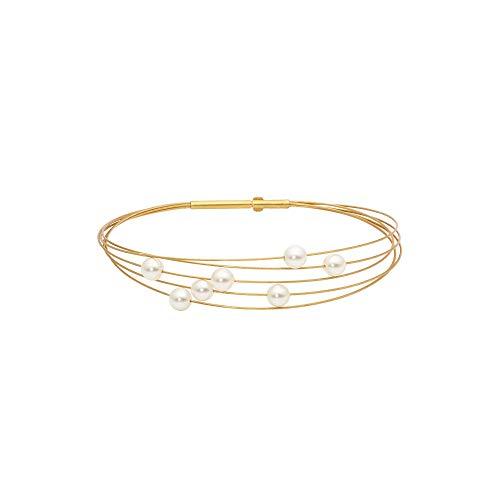 Heideman Armband Damen Florere aus Edelstahl gold farbend matt Armkette für Frauen mit Swarovski Perle weiss Perlenarmband Perlenschmuck Brautschmuck