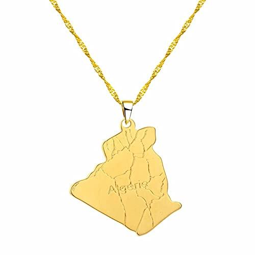 País Región Argelia Mapa Argelia Mapa Colgante Collar Joyería De Moda Collar De Dama Collar De Oro