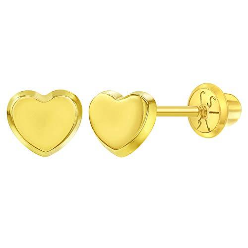 Pendientes de oro amarillo de 14 quilates con forma de corazón pulido para bebés y niñas.