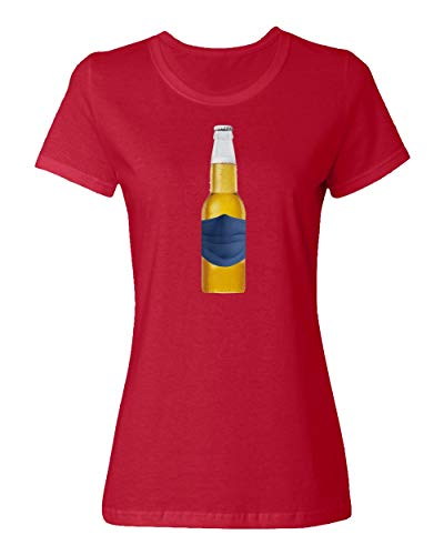 Sheki Apparel Coronavirus 2020 Beer Drinking Covid 19 Humor Ladies Crewneck T-Shirt (Red, Large)