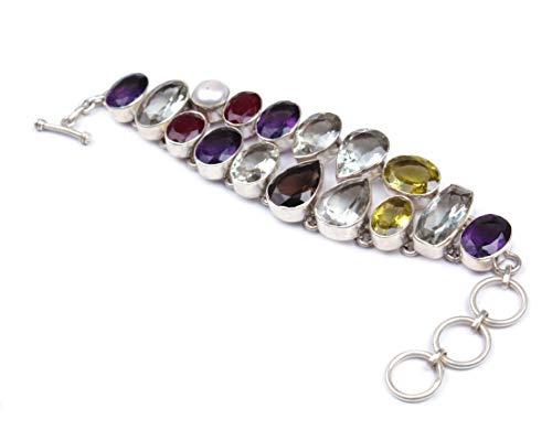 Pulsera de plata de ley 925   Pulsera ajustable de cadena y eslabón   Hermosa pulsera de piedras preciosas múltiples   piedra preciosa facetada   Tamaño 7.5-8 pulgadas