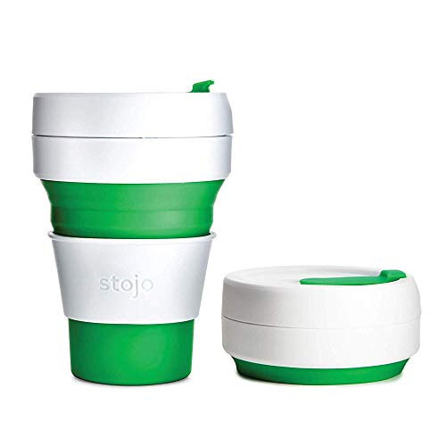 Stojo On The Go Coffee Cup | Pocket Size Collapsible Silicone Travel Cup – Green, 12oz / 355ml | No Straw Included