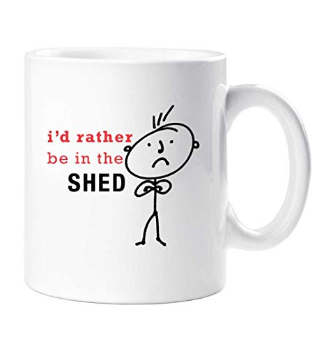 60 Second Makeover Mens I'd Rather Be in The Shed Mug Present Dad Boyfriend Man Gift Grandad