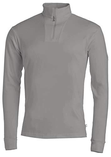 Medico Herren Ski Shirt, 54, 100% Baumwolle, light grey, langarm, Rollkragen, Reißverschluss