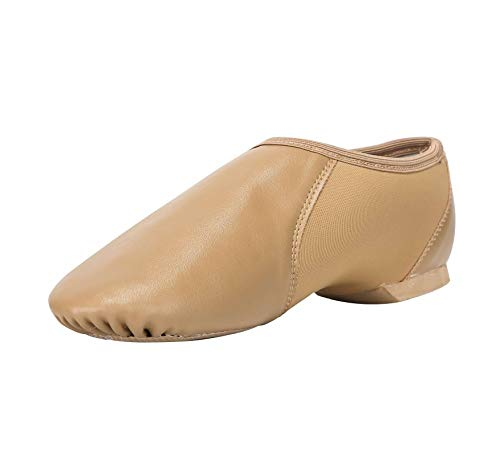 Linodes PU Leather Jazz Shoe Slip On Dance Shoes with Circle Elastic for Girls and Boys (Toddler/Little Kid/Big Kid)-Brown-1.5M-Little Kid