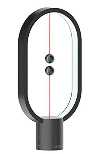Gpzj Lámpara de Mesa Simplicity, lámpara de Equilibrio, lámpara de Escritorio, luz de Noche LED Creativa de Equilibrio de levitación magnética Inteligente, Puerto de Carga USB, Negro