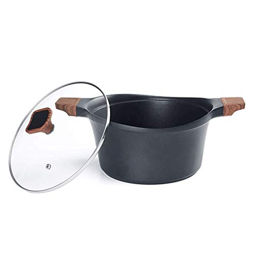 Materiales de primera clase, mano de obra exquisit Olla de sopa antiadherente, olla de sopa de piedra maifan de alta temperatura con tapa disponible para cocina de inducción de cocina olla de carne as
