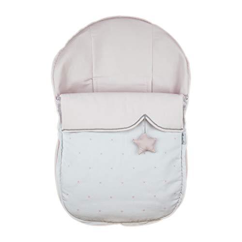 Rosy Fuentes - Saco de Capazo Grupo 0-10 x 50 x 60 cm - Color Blanco Rosa - Poliéster y Algodón - Equipado para ser Ajustado - Saco Universal para Silla de Bebé Grupo 0