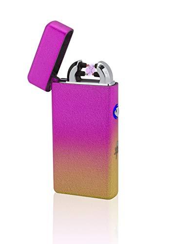TESLA Lighter T08 Lichtbogen Feuerzeug, Plasma Double-Arc, elektronisch wiederaufladbar per USB, ohne Gas und Benzin, mit Ladekabel, in edler Geschenkverpackung, Sonderfarben Mixed-Orange
