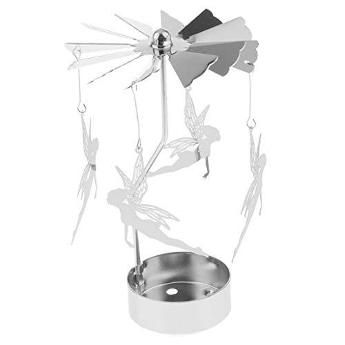 Artesanía De Plata De La Vela del Tenedor De La Vela del Té De La Vela Giratoria De La Decoración De La Navidad para La Decoración del Partido - Duende