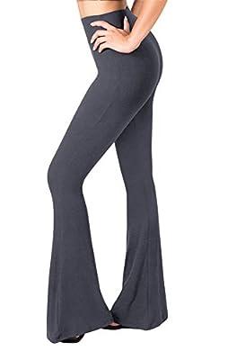 SATINA High Waisted Flare Palazzo Wide Leg Pants | Printed & Solid | Reg & Plus (Medium, 1 Charcoal)