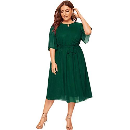 LOPILY Damen Abendkleid Große Größen Sadin Einfarbiges Cocktail Kleid Hohe Taillen Chiffonkleid Übergrößen Festliche Kleider für Damen Große Größen Elegantes Kleid für Brautmutter (Grün, DE-52/CN-5XL)