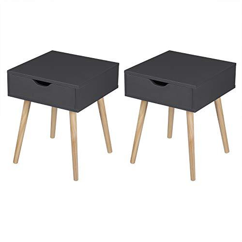 eSituro SCD0153-2 2er Set Nachttisch Nachtschrank Beistelltisch, modernes & skandinavisches Design Nachtkommode mit Schublade und Holz Beinen Sofatisch, Weiß