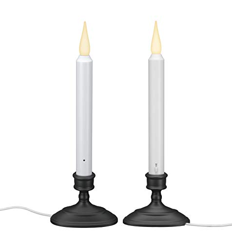 612 Vermont LED Electric Window Candles with Sensor Dusk to Dawn, Warm White Flicker Flame or Steady On, USB Low Voltage Adapter (2, Antique Bronze)