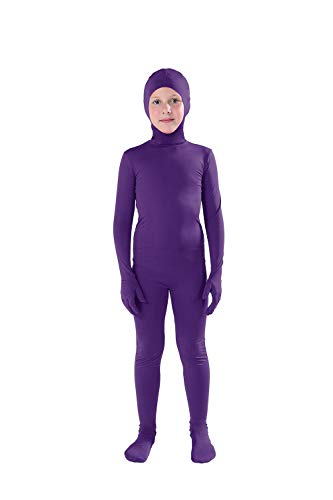 Full Bodysuit Kids Costume Open Face Spandex Stretch Zentai Child Suit (Large, Dark Purple)