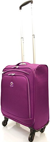"""21'/55cm Ultra Super Lightweight World's Lightest Durable Carry On Cabin Hand Luggage Suitcases Travel Bag with 4 Wheels for Ryanair, EasyJet, BA, TUI, Jet2 (21"""" Cabin, Purple)"""