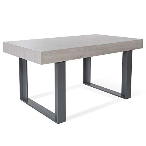 IDMarket - Table à Manger Phoenix 6 Personnes Bois Gris 160 cm
