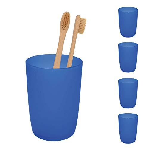 L+H 4X Zahnputzbecher aus hochwertigem Kunststoff im Set | Mundspülbecher für Kinder & Erwachsene | Ideal Als Zahnputz-Becher Trinkbecher Zahnbürstenhalter