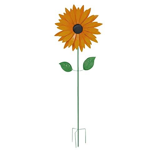 FDKJOK Molinillos de viento de girasol, de metal, giratorios, para jardín, con estaca, para niños, para balcón, terraza y jardín, conector de jardín (1)