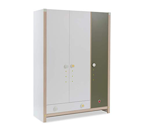 Kleiderschrank mit drei Türen für Kinderzimmer, weiß und grün (cm 139 H 199 x 56) [Serie: Dafne-Montessori]
