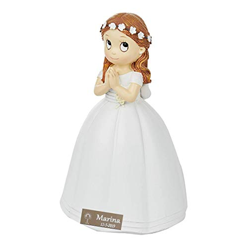 Figura comunión niña PERSONALIZADA con placa grabada. Modelo corona flores pelo rubio