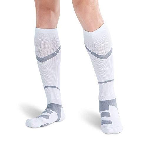 Bracoo ELP 着圧ソックス コンプレッション ハイソックス アーチ サポート スポーツ用 (ホワイト・グレー, M)