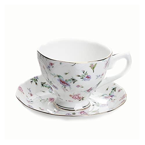 Essinged Hueso China Tazas de café Platos Eleware Europeo Estilo Pastoral Europeo Impresión Floral Tarde Conjunto de té de Porcelana Tazas y Placas 170ml (Color : 20)