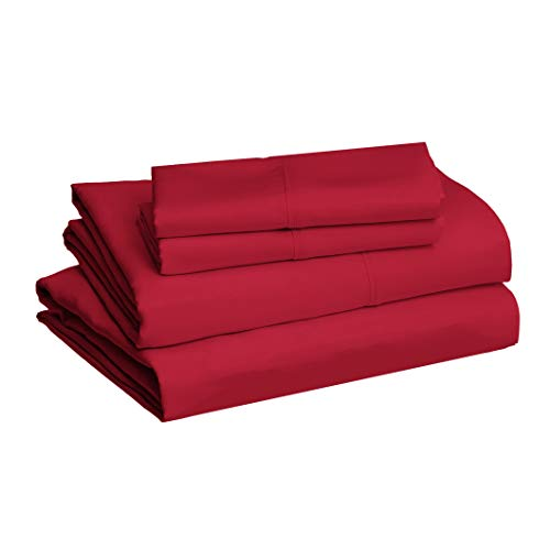 AmazonBasics Lightweight Super Soft Easy Care Microfiber Bed Sheet Set with 16' Deep Pockets - Queen, Burgundy
