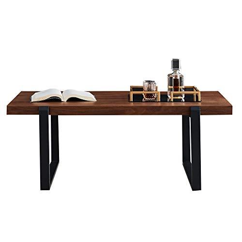 Tavolino da caffè minimalista, struttura in metallo nero con piastra in noce