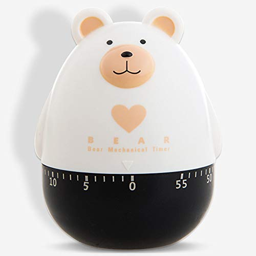 HELEN CURTAIN Temporizador de Cocina, Temporizador analógico, de 60 Minutos de Viento de hasta Egg Timer Timer-Timbre Alto temporizadores, no Requiere Pilas 100% mecánica (Oso),B