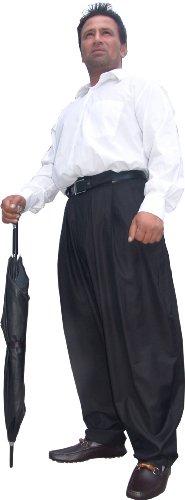 Il Padrino Moda Luxus Bundfalten Hose Gr. 48 black - Mafia Hose Boogie Swing
