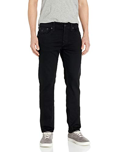 True Religion Men's Rocco Skinny Fit Jean with Back Flap Pockets, Body Rinse Black, 33W X 32L