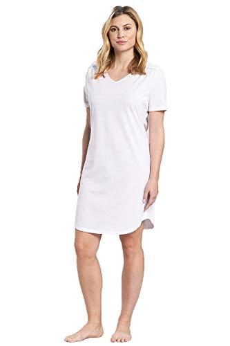 Rösch Nachthemd Damen Kurzarm Klassisches Bigshirt mit dezentem Spitzeneinsatz an der Schulter, Gr. 36-50, 1884171 40 White