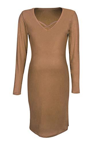 BOLAWOO Mammakläder dam långärmad V-ringad enfärgad mammamode vår slim fit mode elegant elastisk fritidskläder graviditetsklänning höst mode märken