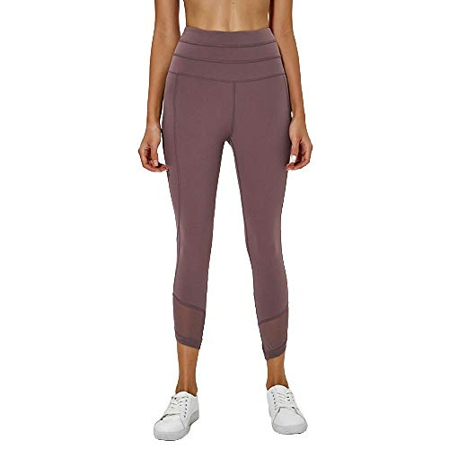 BDN ,Cintura Alta Correr Fitness Hilo de Yoga Que Absorbe la Humedad Pantalones Cortos Leggings Pantalones elásticos Ajustados Leggings Deportes y Ocio-Gris_10
