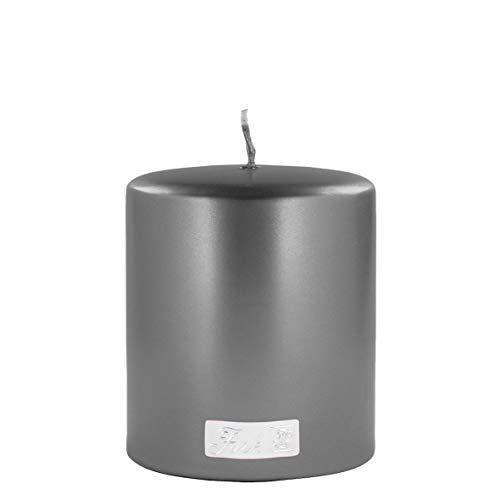 Fink 123741 Altarkerze - Stumpenkerze - getaucht - metallic - grau - H 10, Ø 8 cm