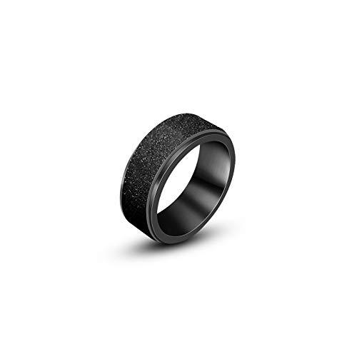 CRYPIN Anillo Giratorio Personalizado de Moda para Hombres, Anillo Esmerilado Plateado en Negro