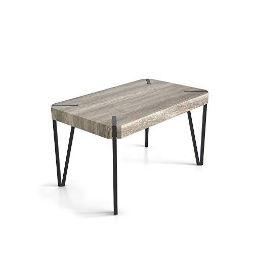 Tuoni Cooper - Mesa de Madera Multicapa y Metal, Color Roble marrón y Metal Barnizado en Negro, 130x 80x 75cm