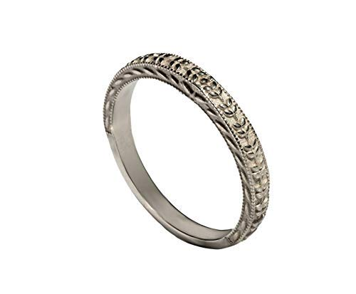 14k Art Deco style thin wedding band Surprise Complete Free Shipping price white r gold stack