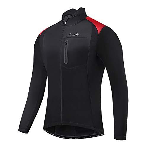 Santic Bike Winter Jacket Windproof Fleece Thermal Warm UP Cycling Bicycle Jerseys Long Sleeves Black US 2XL(CN 3XL