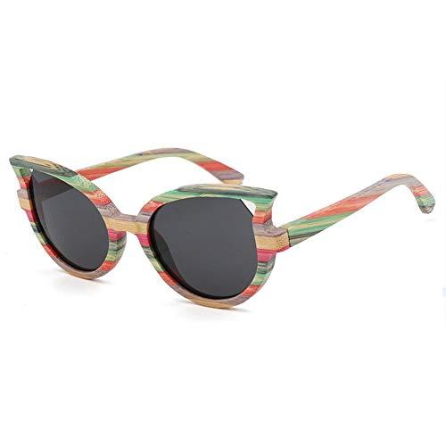 WHSS Gafas de Sol Gafas De Sol UV400 Black Blue Ladies Cat Eye Gafas De Bambú En Color Bamboo Gafas De Sol Polarizadas (Color : Black)