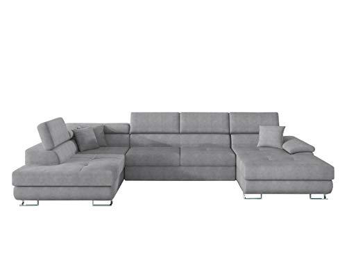 Ecksofa Cotere BIS LED Beleuchtung mit Fernbedienung Eckcouch Sofa mit Schlaffunktion und Bettkasten U-Form Couch Wohnlandschaft vom Hersteller (Alfa 17, Seite: Links)