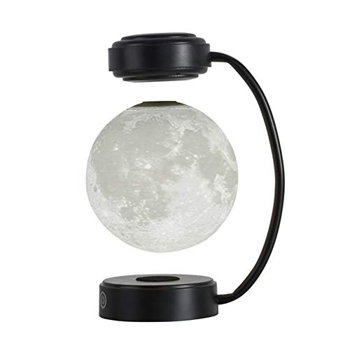 FJLOVE Dimmable Table Lamp Creative Personality Magnetic Levitation Moon Bedside Light,3D Printing Nightstand Lamp for Guestroom Bedroom Living Room & Hotel